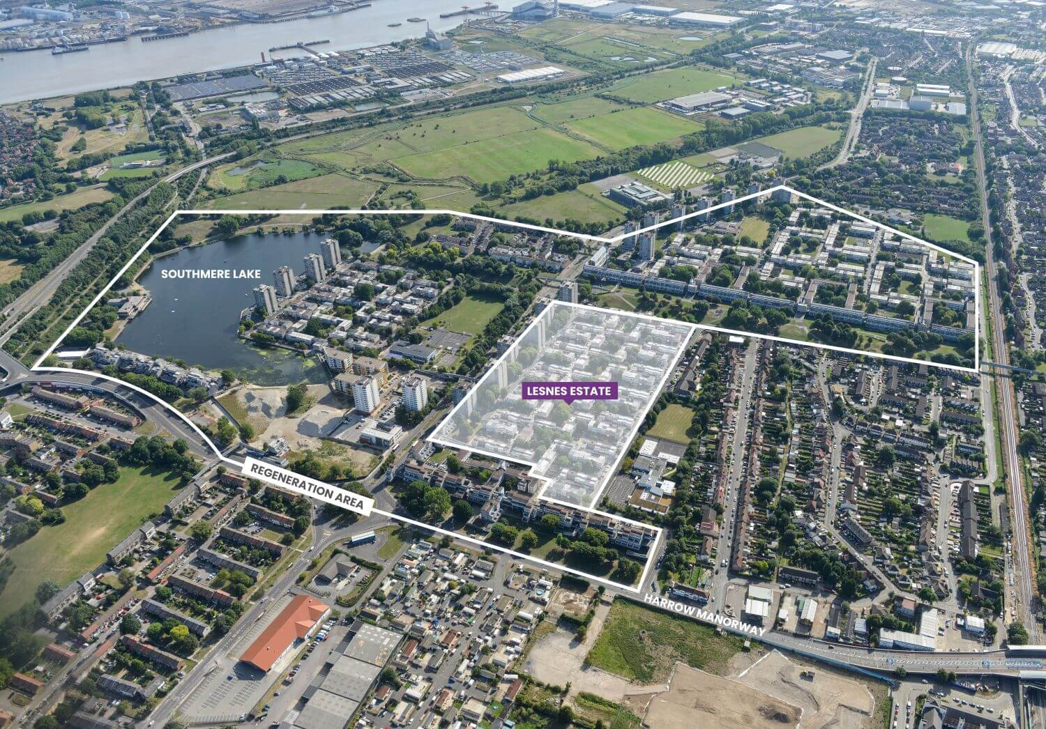 Aerial photo showing the South Thamesmead regeneration area